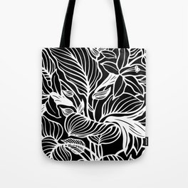 Black White Floral Minimalist Tote Bag