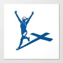 Female Marathon Runner Cross Shadow Canvas Print