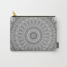 Mandala in white, grey and silver tones Carry-All Pouch