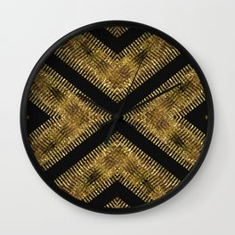 Black Gold | Tribal Geometric Wall Clock