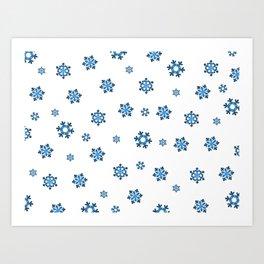 Snowflakes (Blue & Black on White) Art Print