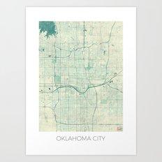 Oklahoma City Map Blue Vintage Art Print