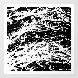 Black and White Paint Splatter Art Print
