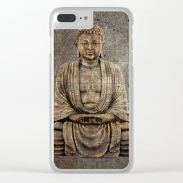 Sitting Buddha On Distressed Metal Background Clear iPhone Case