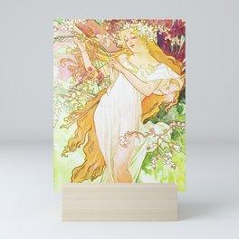 Alphonse Mucha Spring Floral Vintage Art Nouveau Mini Art Print