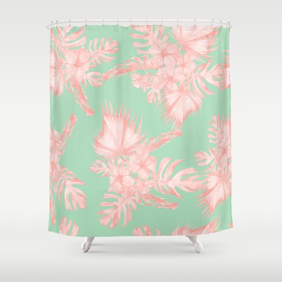 Dreaming Of Hawaii Seashell Pink Light Green Shower Curtain By Simple Luxe Society6