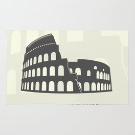 illustration of Roman Colosseum isolated on white background Rug