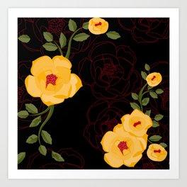 Yellow Rambler Roses Art Print