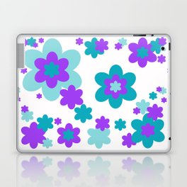 Turquoise Teal Blue and Purple Floral Laptop & iPad Skin