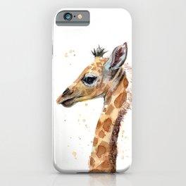 Giraffe Watercolor Cute Baby Animals iPhone Case
