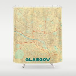 Glasgow Map Retro Shower Curtain