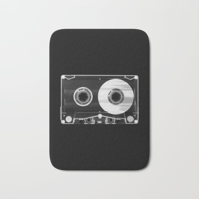 Black and White Retro 80's Cassette Vintage Eighties Technology Art Print Wall Decor from 1980's Bath Mat