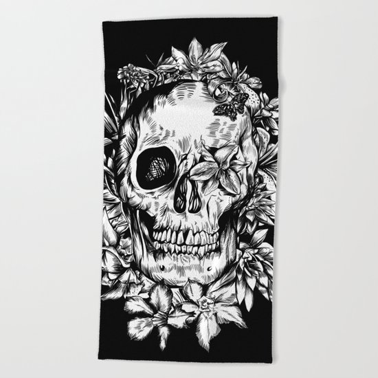 floral skull drawing black and white 2 Beach Towel