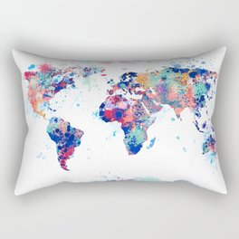 Coloful Splatter World Map Rectangular Pillow