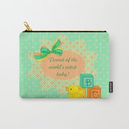 Peach, Green & Yellow Baby Blocks & Rubber Duck Carry-All Pouch