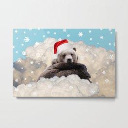 Brown Bear Santa Claus Clouds & Snowflakes Metal Print