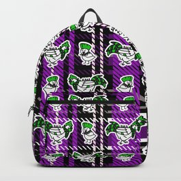 Cute punk chicken and chick on plaid background.  Backpack