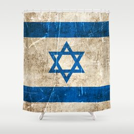 Vintage Aged and Scratched Israeli Flag Shower Curtain