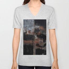 Black orange abstract Unisex V-Neck