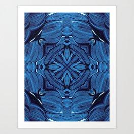 Deep Blue Cross Star Kaleidoscope Art Print
