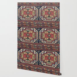 Cowboy Sumakh // 19th Century Colorful Red White Blue Western Lone Star Dallas Ornate Accent Pattern Wallpaper