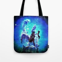 nebula Tote Bags featuring Blue Pillars of Creation nEBULA  by 2sweet4words Designs