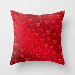 happy, smiling smileys on stars in rich red Throw Pillow