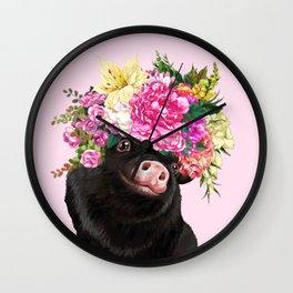 Flower Crown Black Baby Pig in Pink Wall Clock