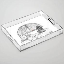Rainy Day Window pencil illustration Acrylic Tray