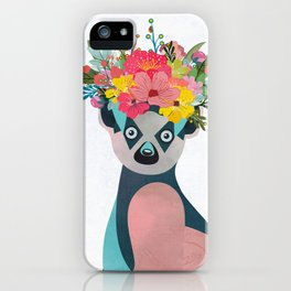 Lemurs with a crown of flowers I iPhone Case