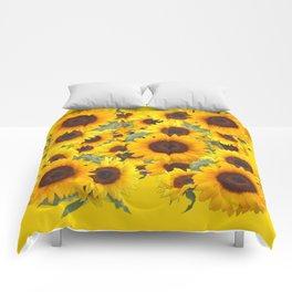 DECORATIVE WESTERN YELLOW SUNFLOWERS FIELDS Comforters