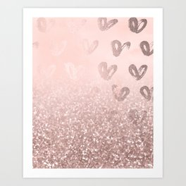 Rose Gold Sparkles on Pretty Blush Pink with Hearts Art Print