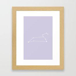 Leo Zodiac Constellation - Lavender Framed Art Print