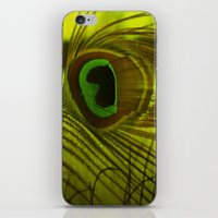 peacock feather iPhone & iPod Skins featuring Peacock Feather by TaLins