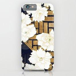 Navy Herringbone with Peony Flowers Print iPhone Case