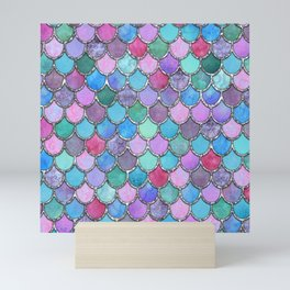 Colorful Silver Mermaid Scales Mini Art Print