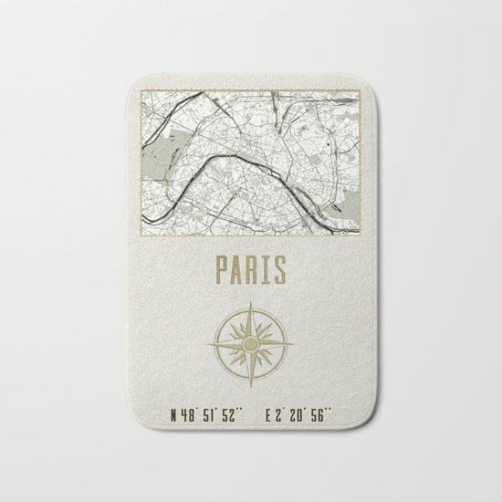 Paris - Vintage Map and Location Bath Mat