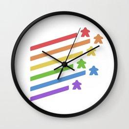 Rainbow Meeples Board Wall Clock