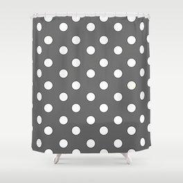 Grey Pastel Polka Dots Shower Curtain
