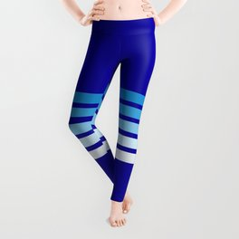 Minimal Maritime Abstract Retro Stripes 70s Style on Blue - Oceanica Leggings