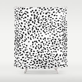Nadia - Black and White, Animal Print, Dalmatian Spot, Spots, Dots, BW Duschvorhang