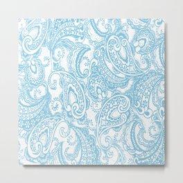 Paisley batik aqua Metal Print