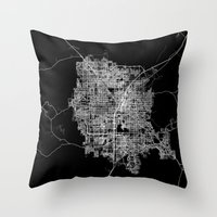 las vegas Throw Pillows featuring Las Vegas map by Line Line Lines