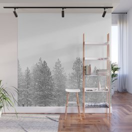 Snow Day // Black and White Winter Landscape Photography Snowing Whiteout Blizzard Wall Mural