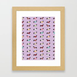Dachshund - Purple Sweaters #251 Framed Art Print