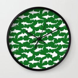 Sharks on Jewel Green Wall Clock