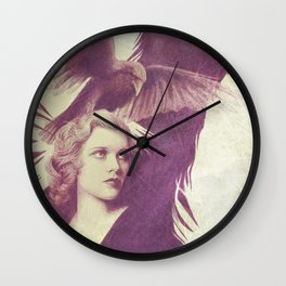 Purple vintage girl with raven Wall Clock
