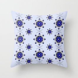 Magical snowflakes in blue, silver and grey Throw Pillow
