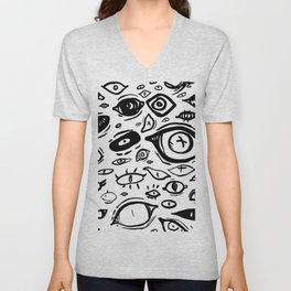 Eyes Eyes Eyes in White Unisex V-Neck