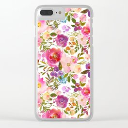 Pink violet lilac watercolor botanical floral Clear iPhone Case